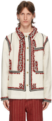 Bode White Pom-Pom Applique Workwear Jacket