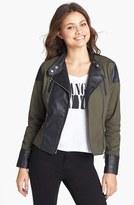 Dollhouse Faux Leather Trim Jacket (Juniors) (Online Only)
