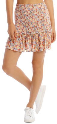 Miss Shop Shirred Skirt - Retro Floral Print