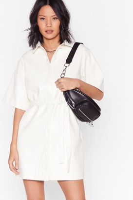 Nasty Gal Womens Croc It Out Faux Leather Mini Dress - White - 14