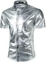JOGAL Mens Metallic Silver Nightclub Styles Short Sleeves Button Down Dress Shirts Large