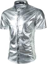 JOGAL Mens Metallic Silver Nightclub Styles Short Sleeves Button Down Dress Shirts XX-Large