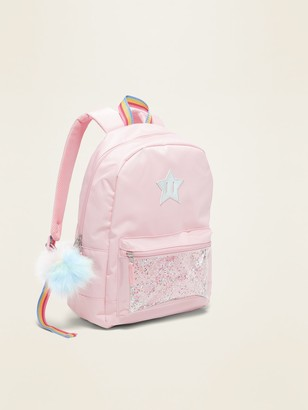 Old Navy Pink Shake-Up Confetti Pocket Pom-Pom Backpack for Girls