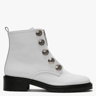 Daniel Polina White Leather Embossed Studs Ankle Boots