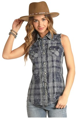 Rock and Roll Cowgirl Sleeveless Snap Check B5S4058 (Blue) Women's Clothing