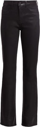 L'Agence Oriana High-Rise Straight-Leg Coated Jeans