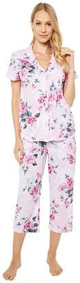 Karen Neuburger Petite Garden Rosa Short Sleeve Girlfriend Capris PJ (Floral Roseate Spoonbill) Women's Pajama Sets