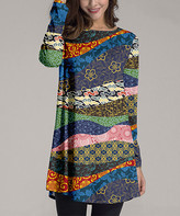 Nanu Women's Tunics Blue - Blue & Orange Jungle Mix Boatneck Long-Sleeve Tunic - Women & Plus