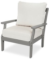 Yacht Club Deep Patio Chair with Sunbrella Cushions Trex Outdoor Frame Color: Charcoal Black, Cushion Color: Cast Sage