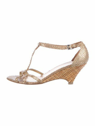 Prada Embossed Leather T-Strap Sandals Gold