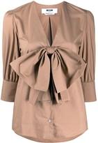 MSGM bow-detail V-neck blouse