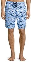 Vilebrequin Okoa Shark-Print Swim Trunks, Blue