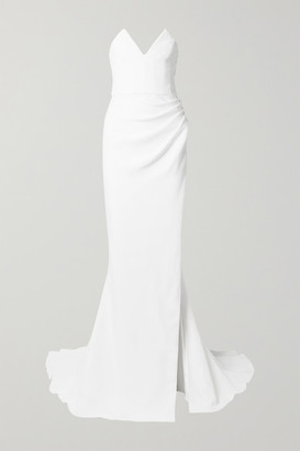 Cushnie Strapless Ruched Crepe Gown - White