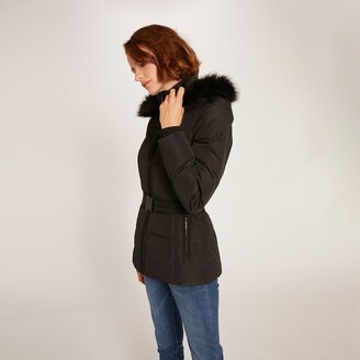 Morgan Short Hooded Padded Jacket with Belt