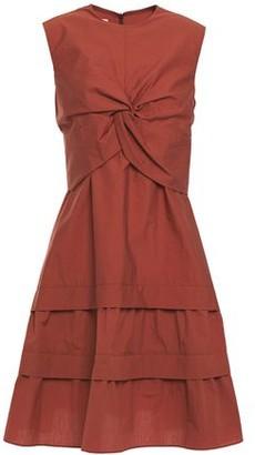 Brunello Cucinelli Tiered Twist-front Crinkled Cotton-blend Dress