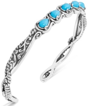 Carolyn Pollack Turquoise Five-Stone Cuff in Sterling Silver
