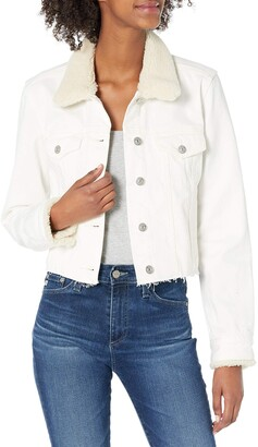 Paige Women's Vivienne Shearling Collar Relaxed Raw Hem Jacket