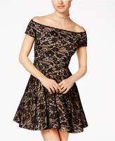 B. Darlin Juniors' Off-The-Shoulder Lace Skater Dress