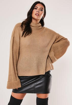 Missguided Plus Size Stone Funnel Neck Jumper