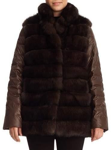 Gorski Sable Fur & Silk Two-Piece Down Jacket