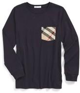 Burberry Boy's Check Print Chest Pocket T-Shirt