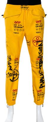 Off-White Yellow Graffiti Print Goretex Track Pants M