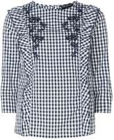 Dorothy Perkins Multi Blue Gingham Frill Embroidered Top