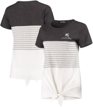 Michigan State Spartans Why Knot Colorblocked Striped Knotted T-Shirt - Charcoal