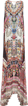 Camilla Tiny Dancer Crystal-embellished Printed Silk Crepe De Chine Maxi Dress