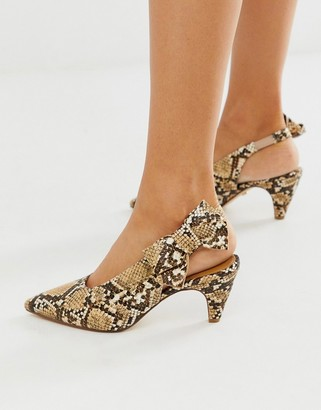 Office Memo snake print kitten heeled slingback shoes