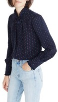 Madewell Women's Stripe Silk Tie Neck Ruffle Blouse