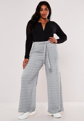 Missguided Plus Size Grey High Waisted Rib Wide Leg Trousers