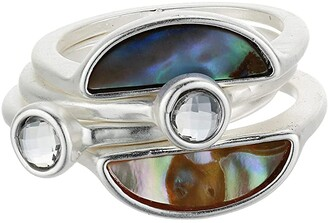 Lucky Brand Abalone Stack Ring Set (Silver) Ring