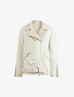 AllSaints Shearling-lined denim biker jacket