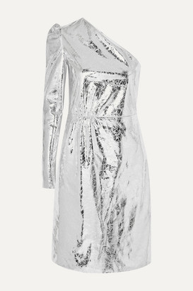 Stand Studio Pernille Teisbaek Kayla One-sleeve Crinkled Metallic Faux Leather Mini Dress - Silver