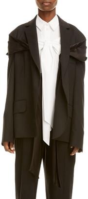 Simone Rocha Drape Detail Oversize Stretch Wool Jacket
