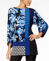 Alfani Petite Mixed-Print Tunic, Created for Macy's