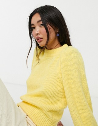 Monki puff sleeve ribbed jumper in baby yellow