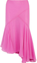 Topshop Unique - Evelyn Asymmetric Pleated Silk Crepe De Chine Skirt - Pink