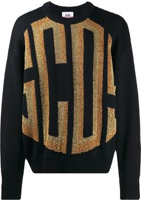 GCDS Glitter Logo Ribbed Detail Sweater