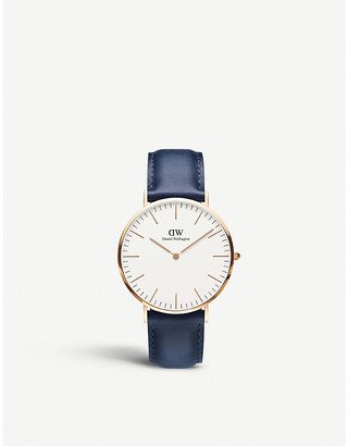 Daniel Wellington Women's Blue Classic Suffolk Rose-Gold And Leather Strap