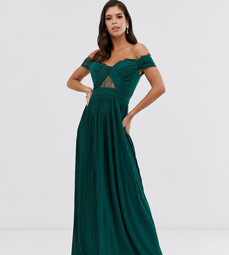 Asos Tall ASOS DESIGN Tall lace and pleat bardot maxi dress