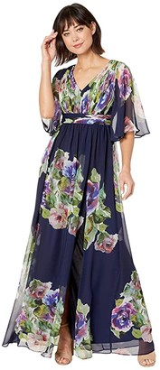 Adrianna Papell Printed Chiffon Evening Gown (Navy Multi) Women's Dress