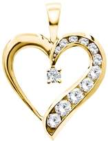 TwoBirch 14k Rose Gold 14k Rose gold Traditional Heart Shaped Pendant with Chain Charm set with Diamonds SI2-I1 (0.54 ct. twt.) with Diamonds (0.54 ct. twt.)