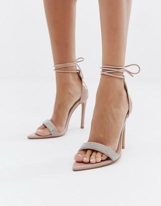 Public Desire Caffeine blush embellished ankle tie heeled sandals-Beige