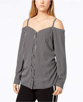 Bar III Striped Off-The-Shoulder Shirt, Created for Macy's