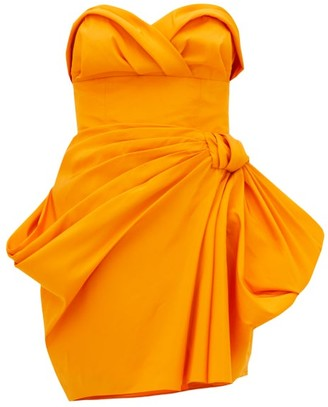 Carolina Herrera Strapless Ruched Silk-faille Mini Dress - Womens - Yellow
