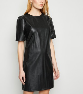 New Look Leather-Look Puff Sleeve Tunic Dress
