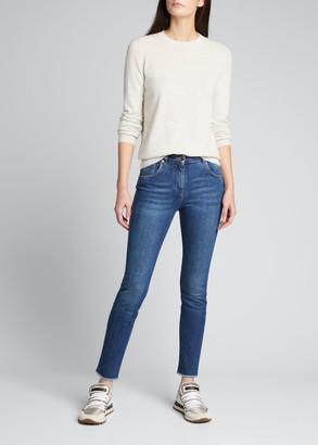 Brunello Cucinelli Skinny Raw-Edge Denim Jeans