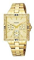 Pulsar Women's PYR048 Dress Sport Square Champagne Dial Gold-Tone Steel Watch